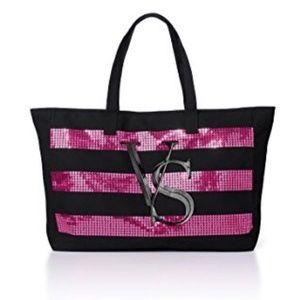 Victoria's secret sequin black pink zipper tote